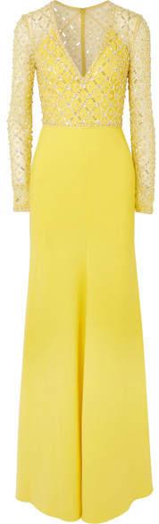 Jenny Packham Embellished Crepe Gown - Yellow