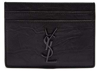 Saint Laurent Monogram Crocodile Effect Leather Cardholder - Mens - Black
