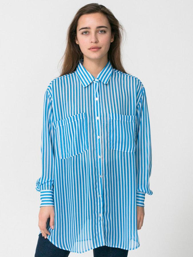 American Apparel Stripe Chiffon Oversized Button-Up