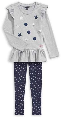 Tommy Hilfiger Little Girl's 2-Piece Star-Print Cotton Blend Top Leggings Set