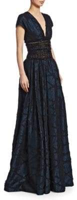 Naeem Khan Women's Metallic Embroidered-Waist Ball Gown - Navy Black - Size 10