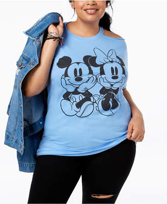 Disney Plus Size Mickey & Minnie Mouse Cold-Shoulder T-Shirt
