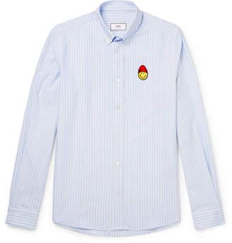 Ami + The Smiley Company Button-Down Collar Appliquéd Striped Cotton Oxford Shirt