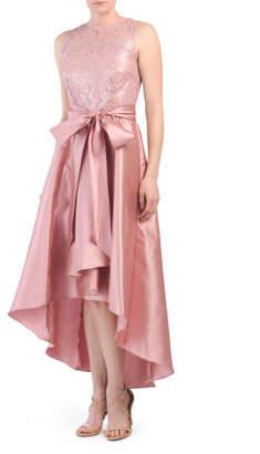 Lace Mikado Hi Lo Dress