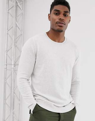 Bershka knitted sweater in light gray