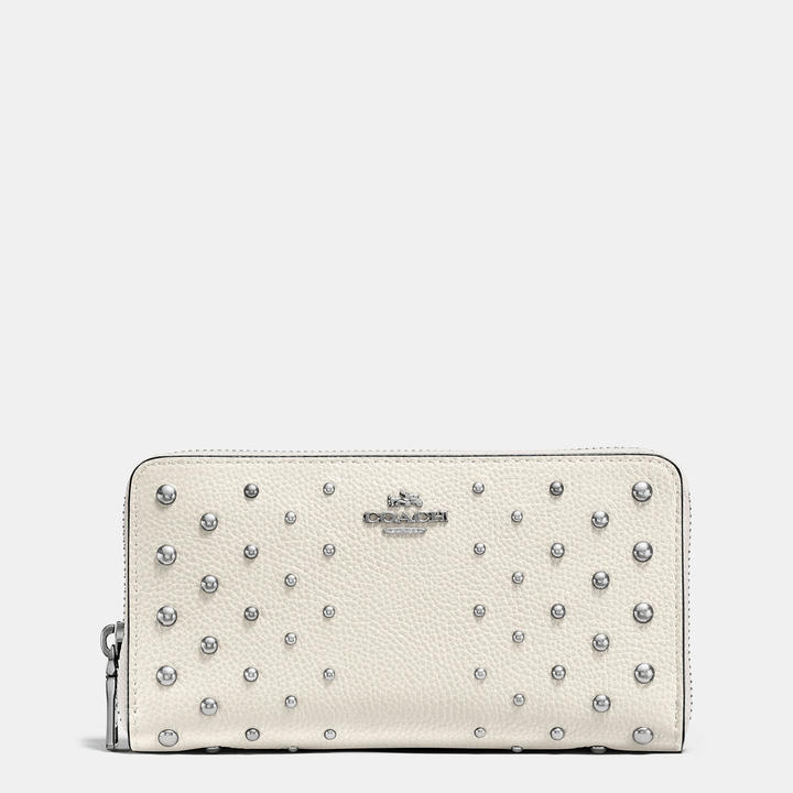 Coach   COACH Coach Accordion Zip Wallet In Polished Pebble Leather With Ombre Rivets