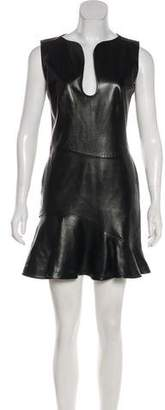 Alexander McQueen Leather Mini Dress