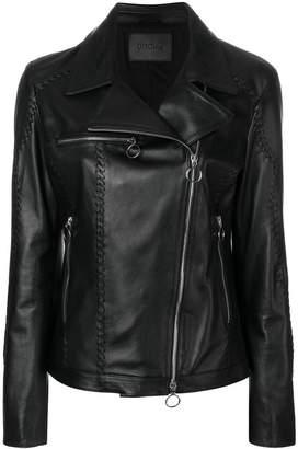 Drome lace-up detail biker jacket