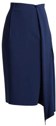 Carl Kapp - Tawaret Draped Pencil Skirt - Womens - Dark Blue