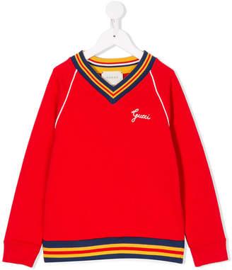 Gucci Kids embroidered V-neck sweatshirt