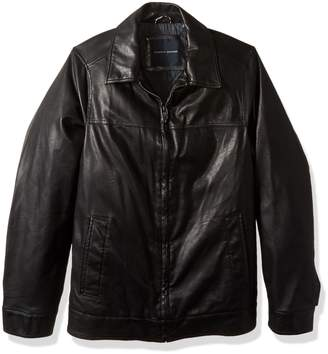 Tommy Hilfiger Men's Tall Size Smooth Lamb Touch Faux Leather Classic Laydown Collar James Dean Jacket