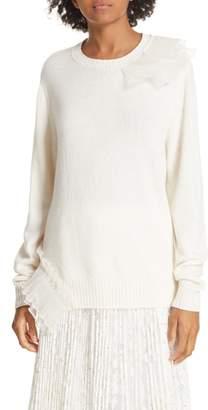 Clu Asymmetric Ruffle Trim Sweater