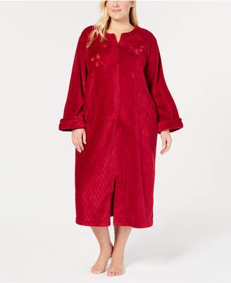 Miss Elaine Plus Size Fleece Long Zip Robe
