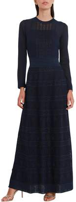 M Missoni Emmbrodered Long Dress See-through Effect