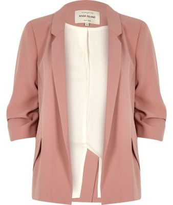River Island River Island Womens Blush pink ruched sleeve blazer