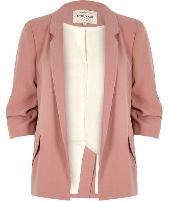 River IslandRiver Island Womens Blush pink ruched sleeve blazer
