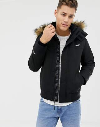 70f1c5c3dc029f Hollister all weather fleece lined hooded bomber faux fur trim in black