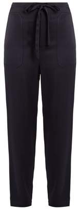 Vince - Drawstring Tapered Leg Satin Trousers - Womens - Navy