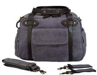 Baby Essentials Soyoung SoYoung Special Edition Charlie Diaper Bag - Waxed Charcoal with Brown Handles