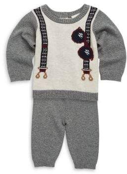 Baby Boy's Two-Piece Sweater Embroidered Top & Pants Set