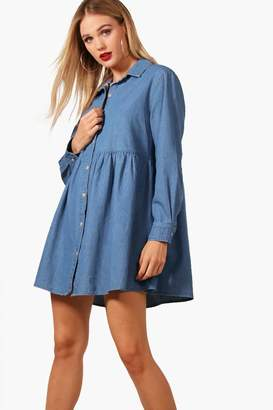 boohoo Button Through Denim Shirt Dress