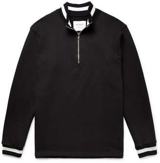 Noon Goons Stripe-Trimmed Loopback Cotton-Jersey Half-Zip Sweatshirt