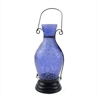 "Northlight 11.75"" Transparent Blue Decorative Glass Bottle Tea Light Candle Lantern with Flower Etching"