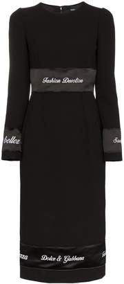 Dolce & Gabbana Logo print tape wool dress