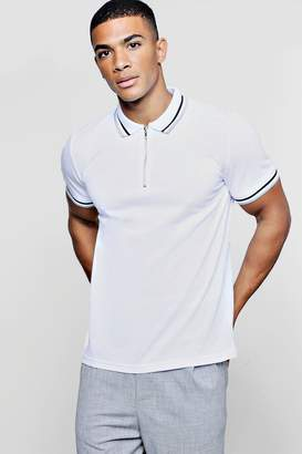 boohoo Short Sleeve Pique Polo With Zip Collar