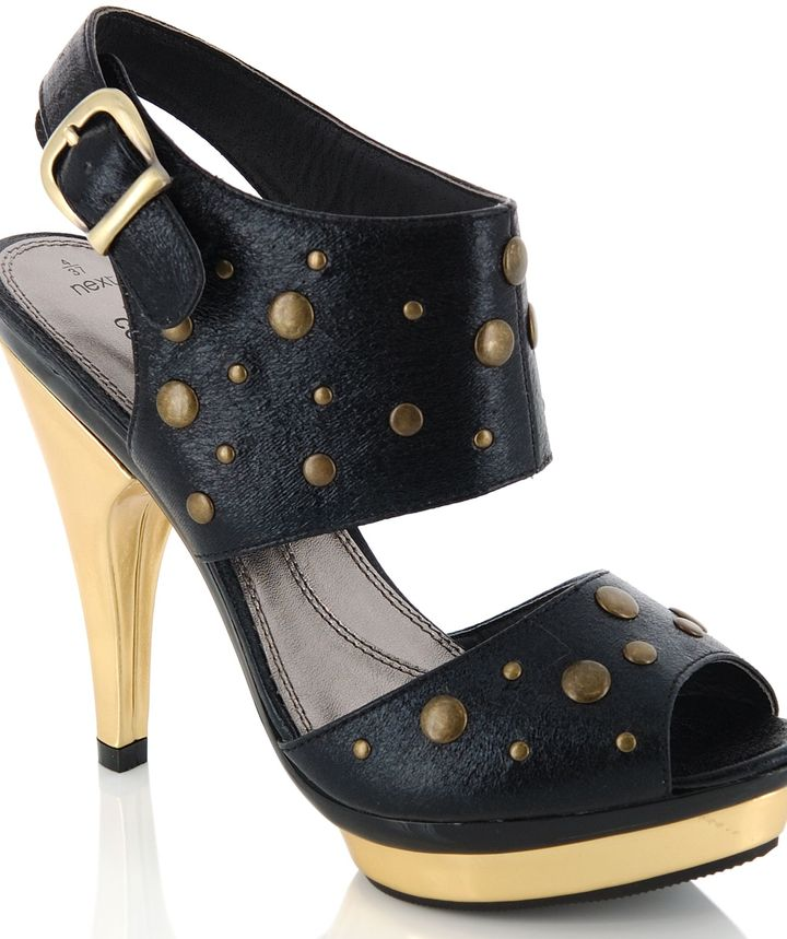 Black And Gold Stud Slingback Peep Toe Shoes