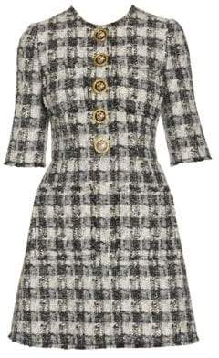Dolce & Gabbana Button-Front Tweed Mini Dress