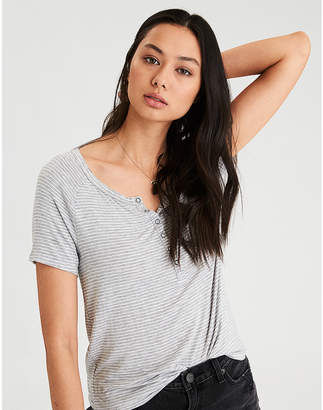 American Eagle AE Soft & Sexy Short Sleeve Henley T-Shirt