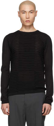 Rick Owens Black Round Neck Cropped Biker Level Sweater