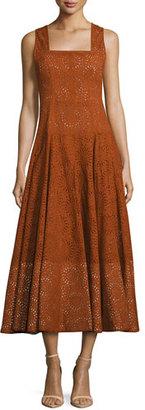 Derek Lam Sleeveless Eyelet Midi Dress, Orange $2,795 thestylecure.com