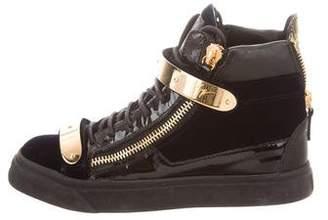 Giuseppe Zanotti Velvet High-Top Sneakers