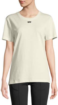 Off-White Off White Faux-Fur Arrow Crewneck Short-Sleeve Cotton Tee