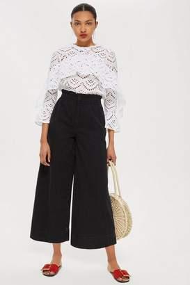 Topshop Wash Black Shirred Waist Jeans