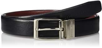 Geoffrey Beene Men's Feather Edge Reversible Dress Belt With Nickel Buckle