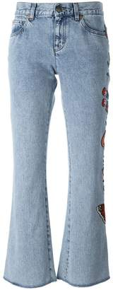 Gucci embroidered flower flared jeans