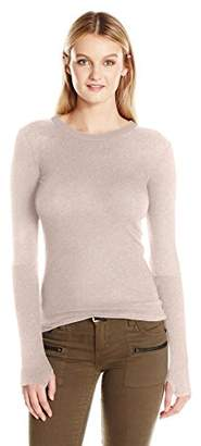 Enza Costa Women's Cashmere Long Sleeve Cuffed Crew with Thumbhole