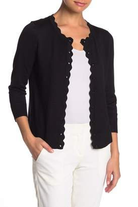 Cable & Gauge Button Front Scallop Detail Sweater (Petite)