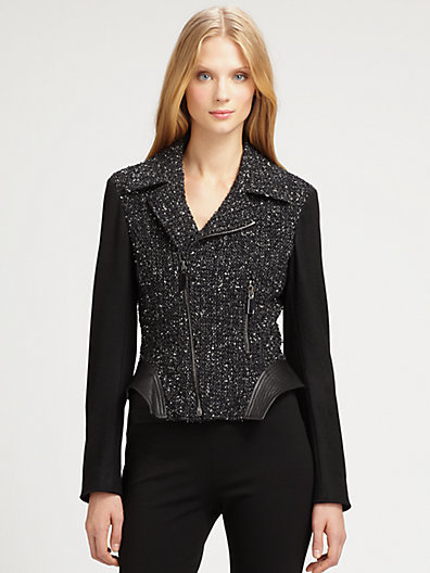 Elie Tahari Tweed/Leather Francis Jacket