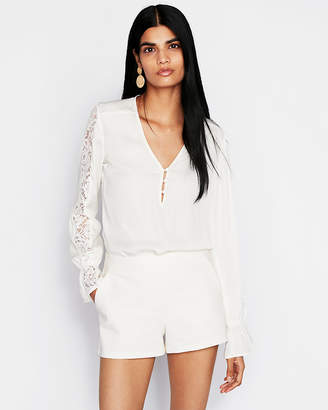 Express Lace Inset Button Front Blouse