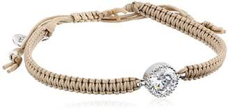 Tai Swarovski Crystal Hand Braided Beige Adjustable Cord Bracelet