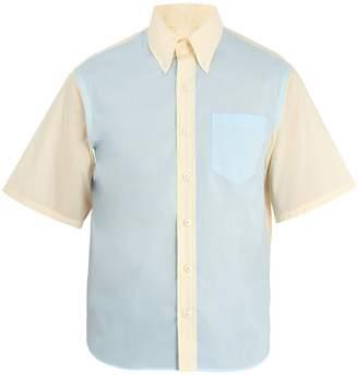 Prada Bi-colour short-sleeved cotton shirt