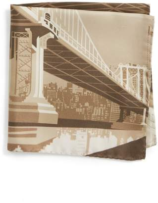 Eton Manhattan Bridge Silk Pocket Square
