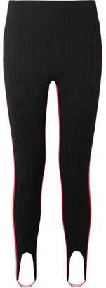 Calvin Klein Striped Stretch-wool Blend Stirrup Leggings