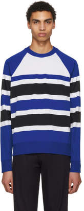 Ami Alexandre Mattiussi Blue and White Striped Crewneck Sweater
