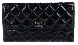 Chanel Quilted Patent Leather Trifold Wallet