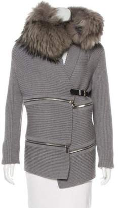 Barbara Bui Fur-Trimmed Wool Cardigan
